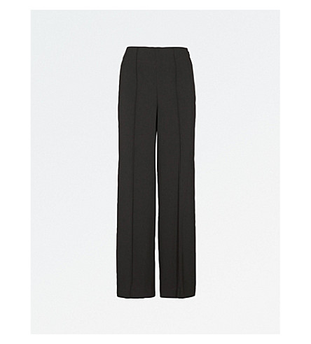 WAREHOUSE Pleated wide-leg high-rise woven trousers (Black