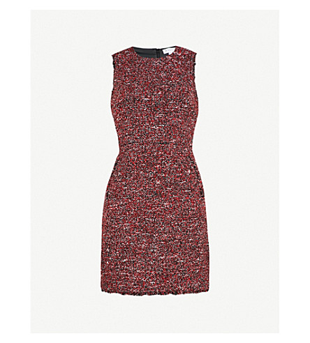 WAREHOUSE Victoria fitted tweed dress (Red