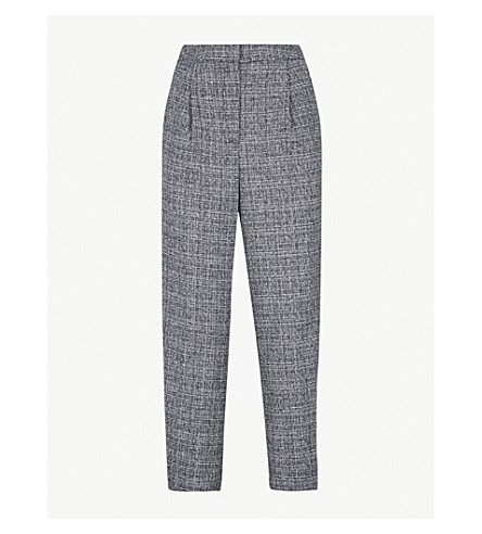 WAREHOUSE Tapered high-rise woven trousers (Grey