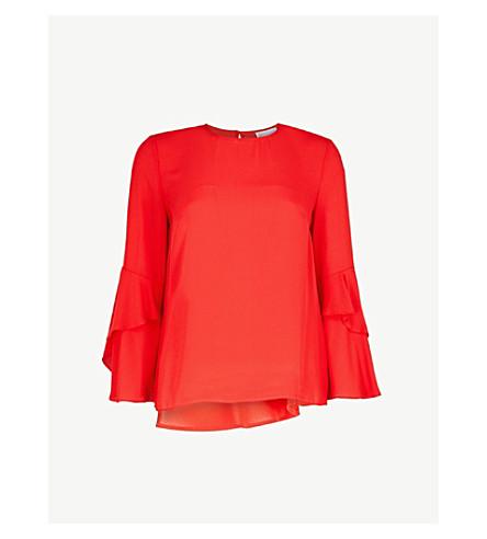 WAREHOUSE Ruffle-sleeve crepe top (Red