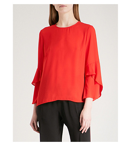 WAREHOUSE Ruffle-sleeve crepe top (Red