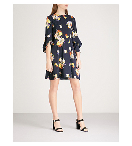 WAREHOUSE Victoria floral-print crepe mini dress (Navy