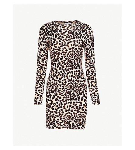 WAREHOUSE Leopard-print cotton-blend dress (Brown