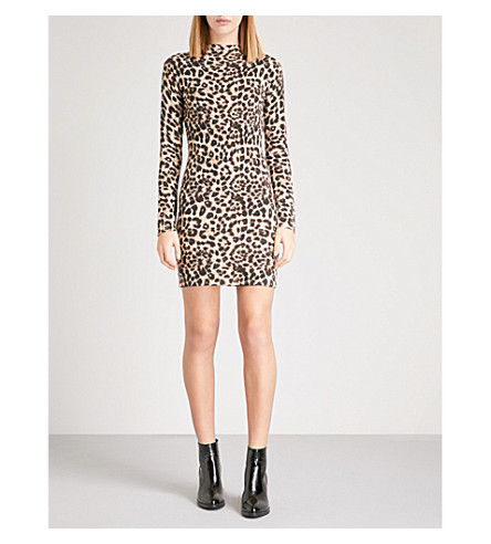 WAREHOUSE Leopard-print cotton-blend dress (Brown