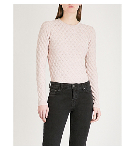 WAREHOUSE Metallic-detail knitted jumper (Pale+pink