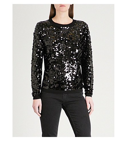WAREHOUSE Sequin cotton-blend jumper (Black