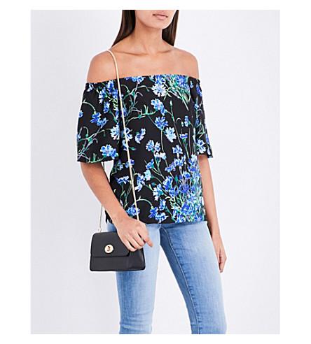 WAREHOUSE Floral-print cold-shoulder crepe top (Black