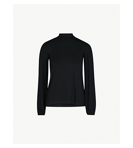 WAREHOUSE Polo tie-back long-sleeved jersey top (Black
