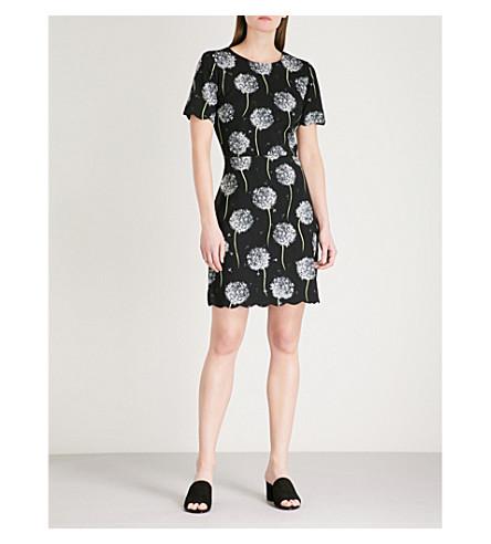 WAREHOUSE Dandelion-print jersey dress (Black