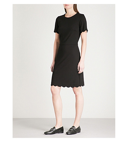 WAREHOUSE Scalloped-trim jersey dress (Black