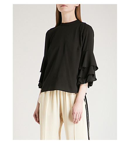 WAREHOUSE Tiered long-sleeved crepe top (Black