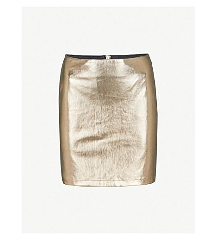 WAREHOUSE Metallic faux-leather skirt (Gold
