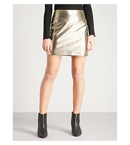 WAREHOUSE Metallic faux-leather skirt (Gold