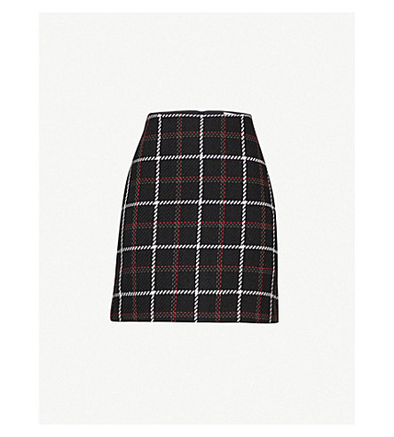 WAREHOUSE Checked cotton-blend pelmet skirt (None