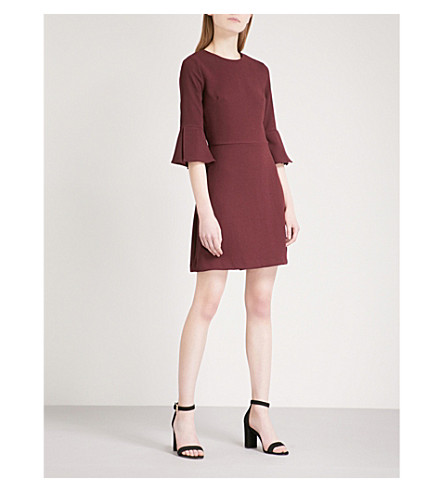 WAREHOUSE Fluted-sleeve crepe dress (Plum