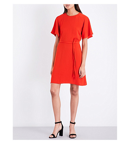 WAREHOUSE Pleated-sleeve crepe dress (Red