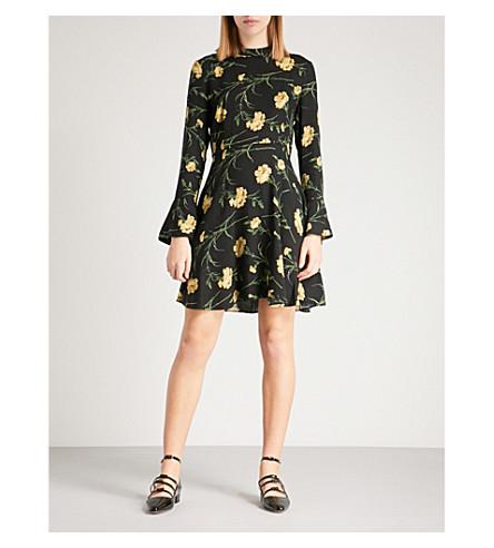 WAREHOUSE Carnation-print woven skater dress (Black
