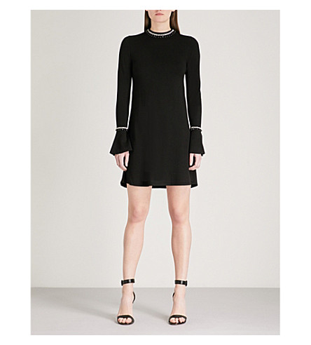WAREHOUSE Embellished flare-cuff knitted dress (Black