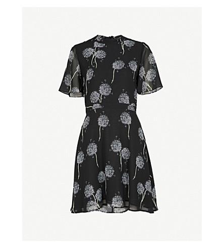 WAREHOUSE Dandelion-print crepe dress (Black
