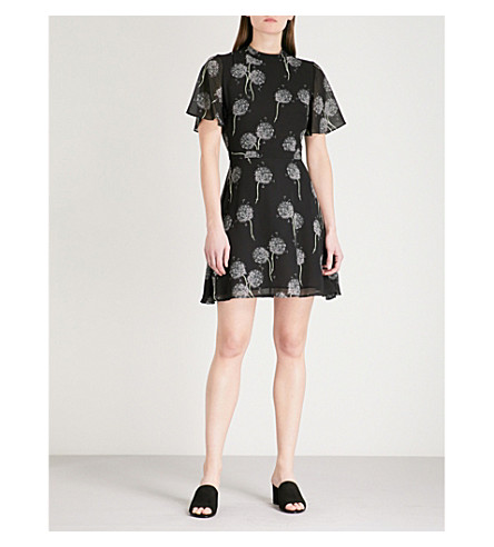WAREHOUSE Dandelion-print crepe dress (Black