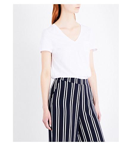 WAREHOUSE Slub v-neck cotton T-shirt (White