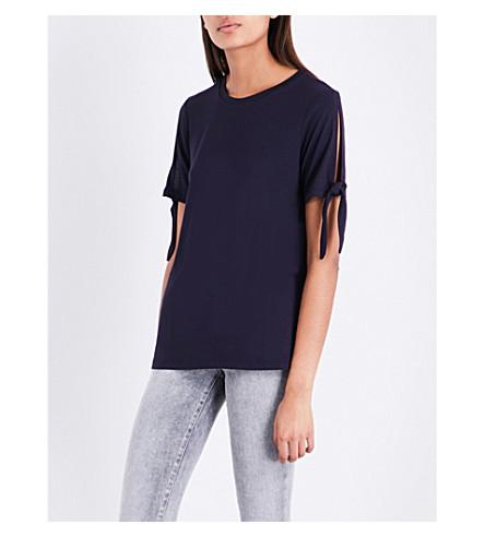 WAREHOUSE Tie-sleeve jersey T-shirt (Navy