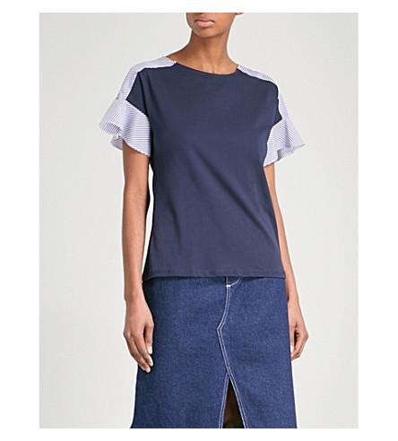 WAREHOUSE Striped cotton-poplin and jersey T-shirt (Navy