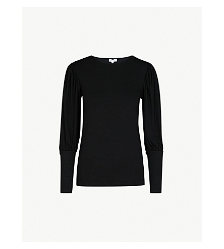 WAREHOUSE Puff Sleeve crepe top (Black