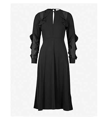 WAREHOUSE Ruffled crepe dress (Black