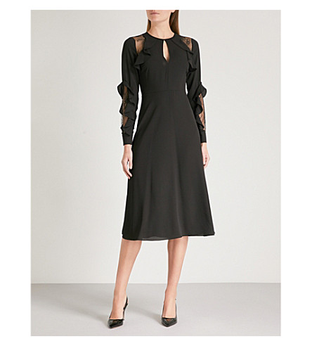 WAREHOUSE Ruffled crepe dress (Black