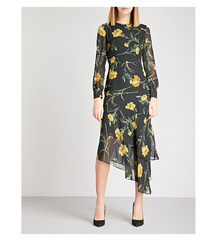 WAREHOUSE Asymmetric floral-print chiffon midi dress (Black