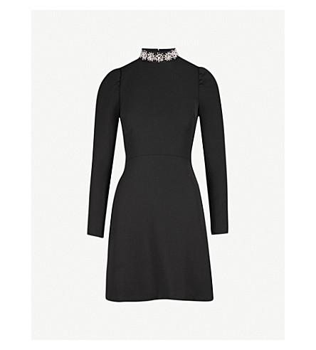 WAREHOUSE Embellished-neck crepe dress (Black