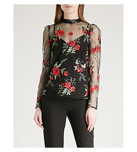 WAREHOUSE Floral embroidered mesh top (None