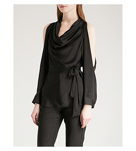 WAREHOUSE Satin cowl-neck long-sleeved top (Black