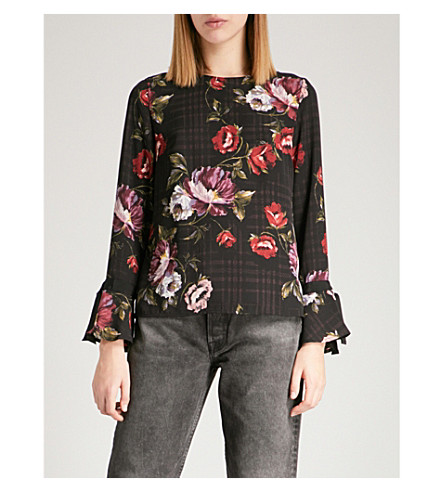 WAREHOUSE Floral-print woven top (Black