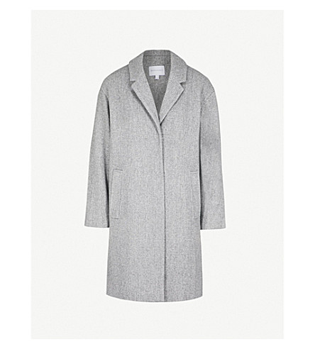 WAREHOUSE Single-breasted felt cocoon coat (Grey