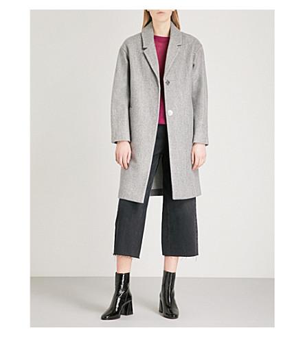 WAREHOUSE Single-breasted felt cocoon coat (Grey