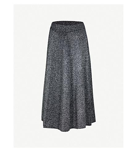WAREHOUSE 金属效应针织迷笛裙 (银色