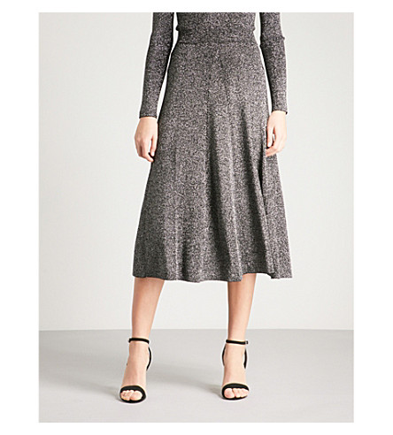 WAREHOUSE Metallic-effect knitted midi skirt (Silver
