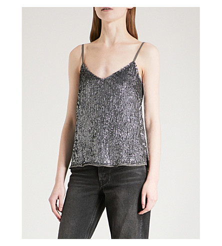 WAREHOUSE Sequin cami top (Grey