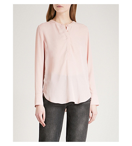 WAREHOUSE Button Side long-sleeved crepe blouse (Pale+pink