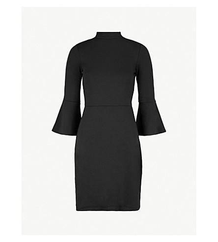 WAREHOUSE High-neck ponte-jersey dress (Black