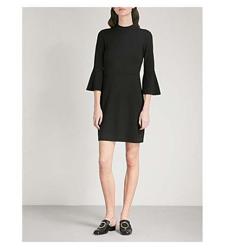WAREHOUSE High-neck ponte-jersey dress (Black
