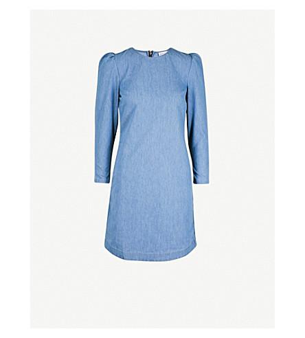 WAREHOUSE Puffed-shoulder stretch-denim dress (Blue