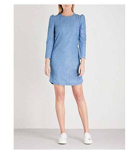 WAREHOUSE 膨化肩弹力牛仔布连衣裙 (蓝色