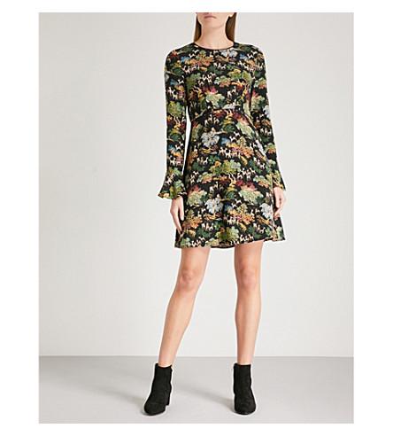 WAREHOUSE Deer Woodland crepe dress (Black