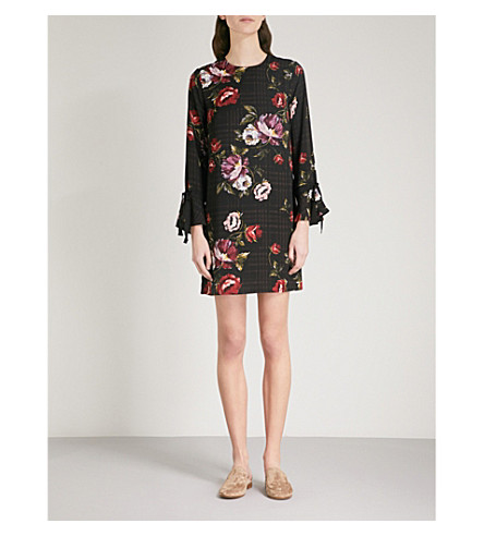 WAREHOUSE Country Rose tie-cuff woven dress (Black
