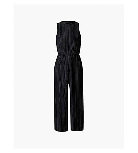 WAREHOUSE 天鹅绒 plissé连身裤 (黑色