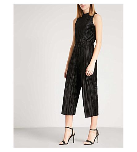 WAREHOUSE Velvet plissé jumpsuit (Black