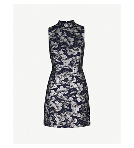 WAREHOUSE Floral-pattern jacquard dress (None
